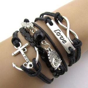 Black Leather Owl Anchor Infinity Charm Bracelet
